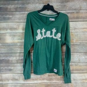 Green Nike Embroidered State Ling Sleeve Shirt